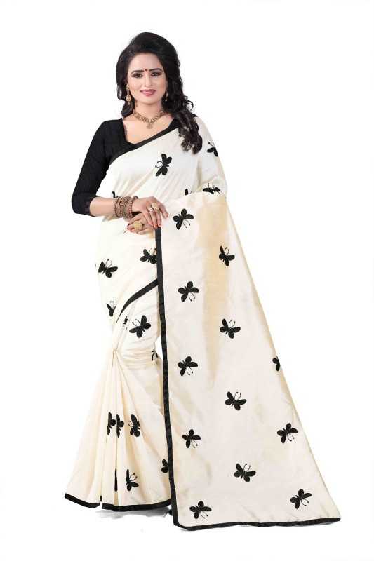 SNH Export Embroidered Fashion Cotton Silk Saree(Black)