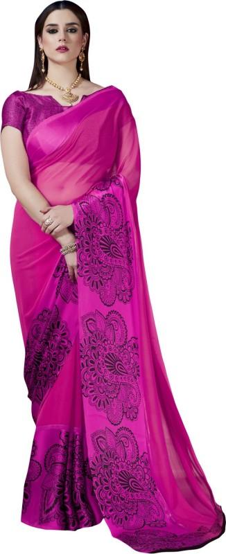 Ratnavati Printed Fashion Georgette, Satin Saree(Pink)