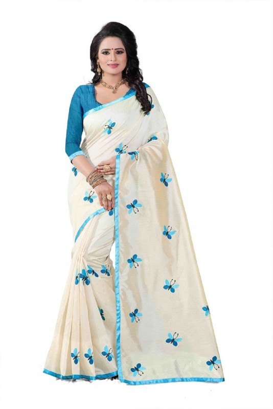 SNH Export Embroidered Fashion Cotton Saree(Blue)