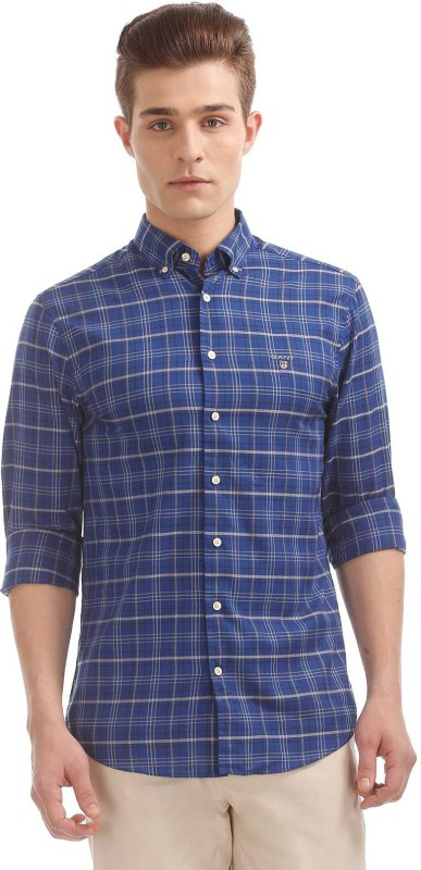Gant Men Checkered Casual Blue Shirt
