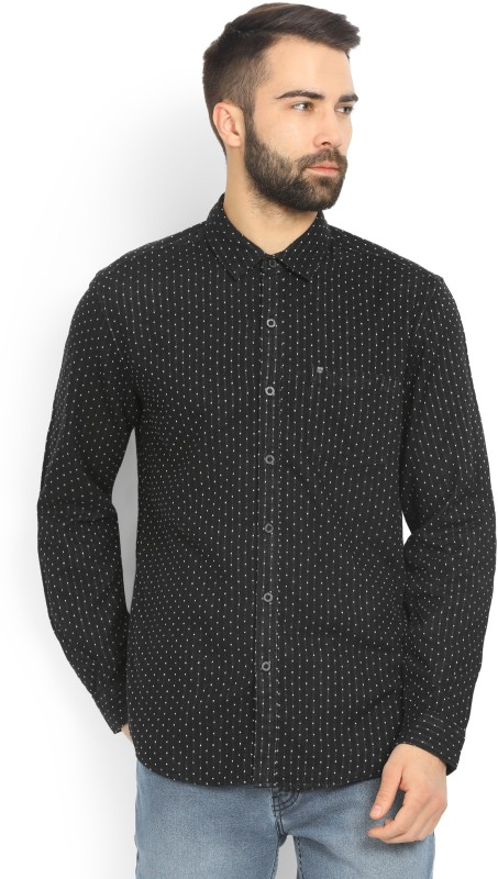 Wrangler Men Polka Print Casual Black Shirt