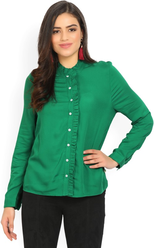United Colors of Benetton Womens Solid Casual Green Shirt