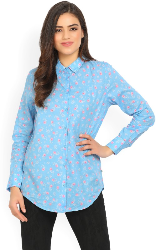 United Colors of Benetton Womens Floral Print Casual Spread Shirt