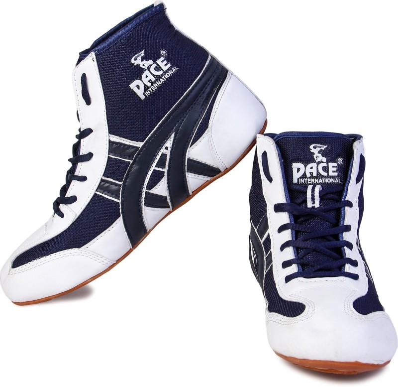 Pace International Wrestling Shoes Wrestling Shoes For Men(White, Blue)