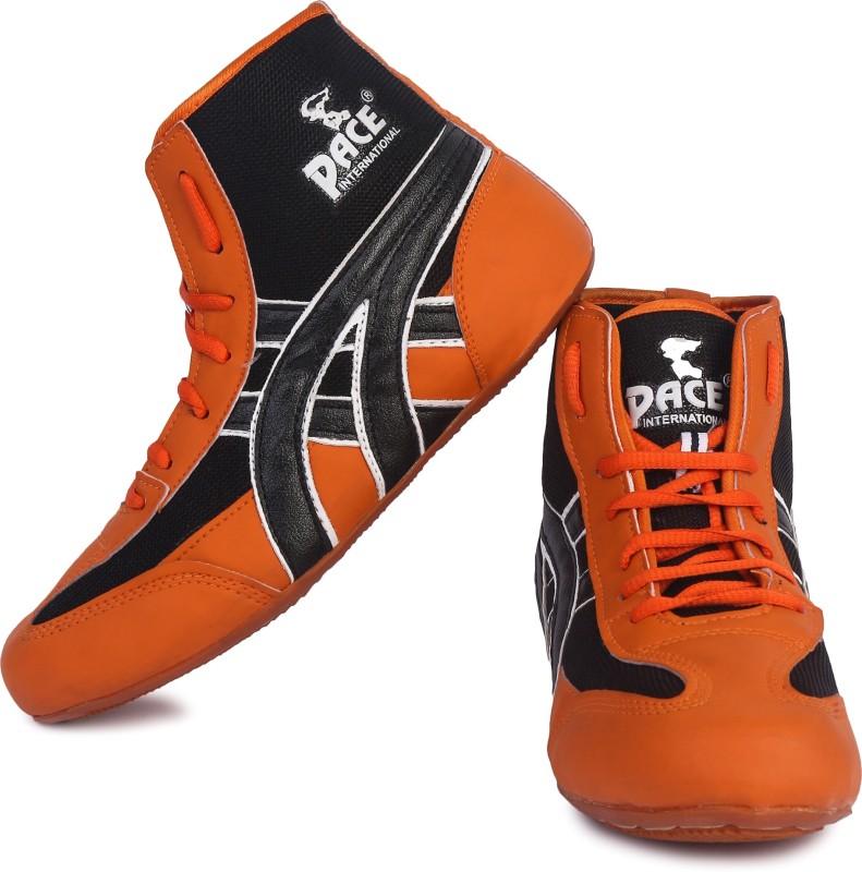 Pace International Wrestling Shoes Wrestling Shoes For Men(Orange, Black)
