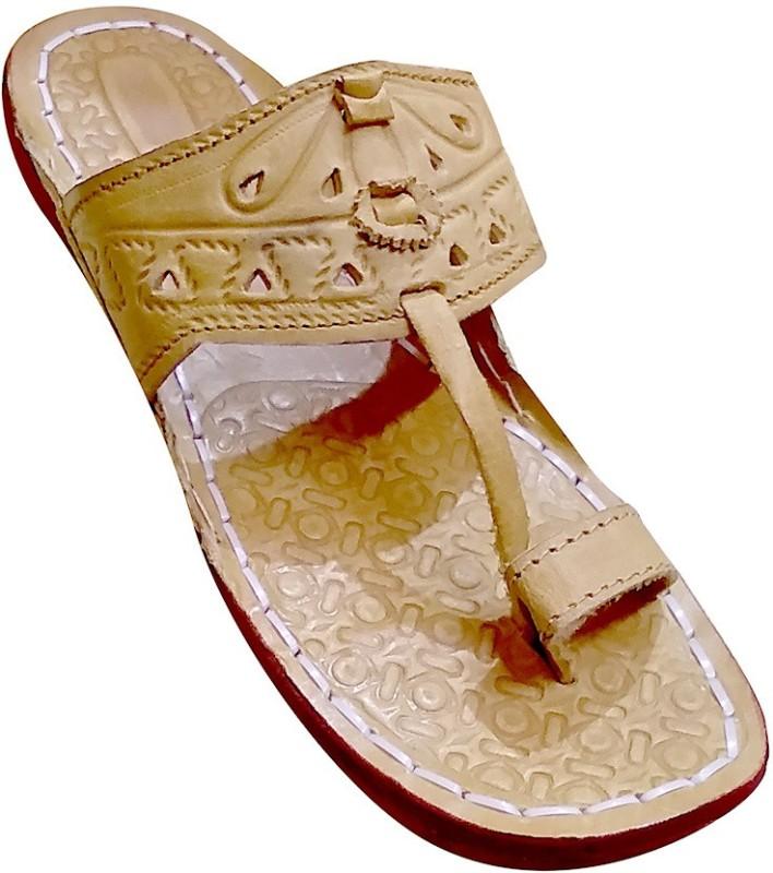 jkt Men's Brown Leather Kolhapuri chappal Slippers