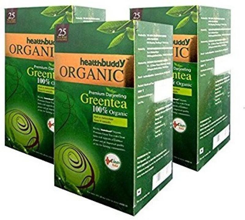 Healthbuddy Organic Green Teabags - 3 Packs of 25 Teabags Each Green Tea Bags(75 Bags, Box)