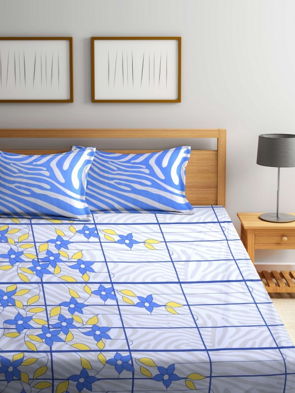 Raymond Home 144 TC Cotton Double Floral Bedsheet(1 Double Bedsheet, Blue, White)
