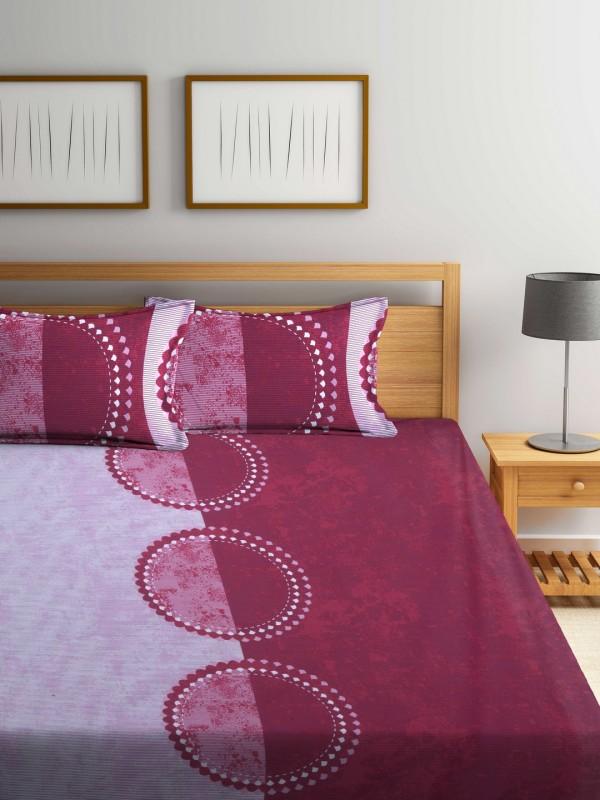 Raymond Home 144 TC Cotton Double Printed Bedsheet(1 Double Bedsheet, Maroon)