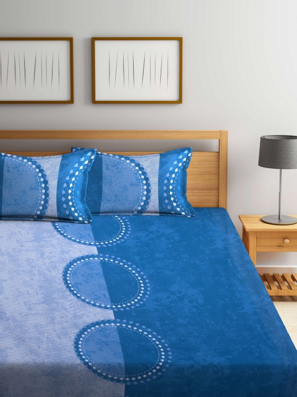 Raymond Home 144 TC Cotton Double Printed Bedsheet(1 Double Bedsheet, Blue)