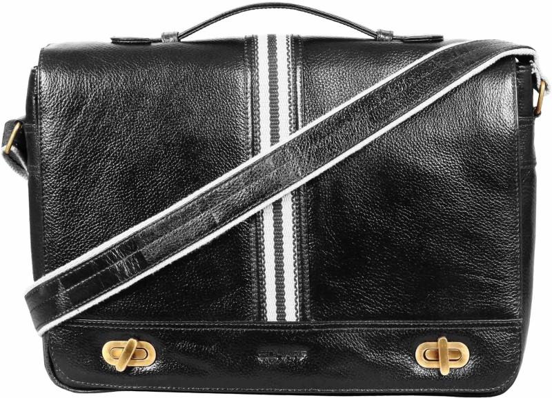 SCHARF Max Pierce - Canvas Swing Fiction 16 Laptop - Macbook Shoulder Messenger Bag Medium Briefcase - For Men & Women(Black)