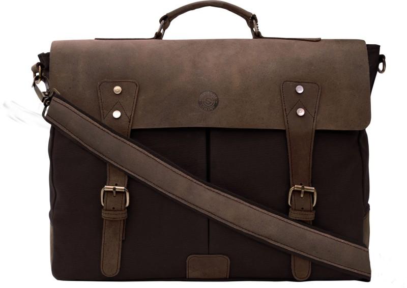 SCHARF Prince Bourne-Aisle Of Oppulence 16 Laptop Messenger Leather Canvas Shoulder Bag Medium Briefcase - For Men & Women(Brown)
