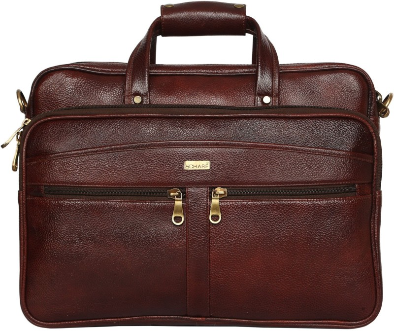 SCHARF Enzo Buster - Voyagers Vows 15.6 Laptop - Macbook Shoulder Traveller Bag Medium Briefcase - For Men & Women(Brown)