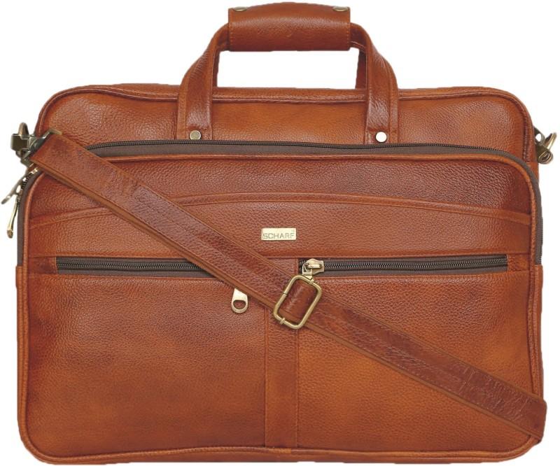 SCHARF Enzo Buster - Voyagers Vows 15.6 Laptop - Macbook Shoulder Traveller Bag Medium Briefcase - For Men & Women(Tan)