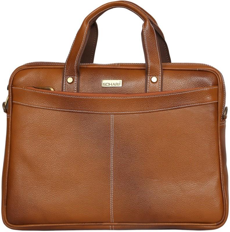 SCHARF Hilton Ted - Truth of Incorportion 15.6 Laptop - Macbook Shoulder Messenger Bag Medium Briefcase - For Men & Women(Tan)