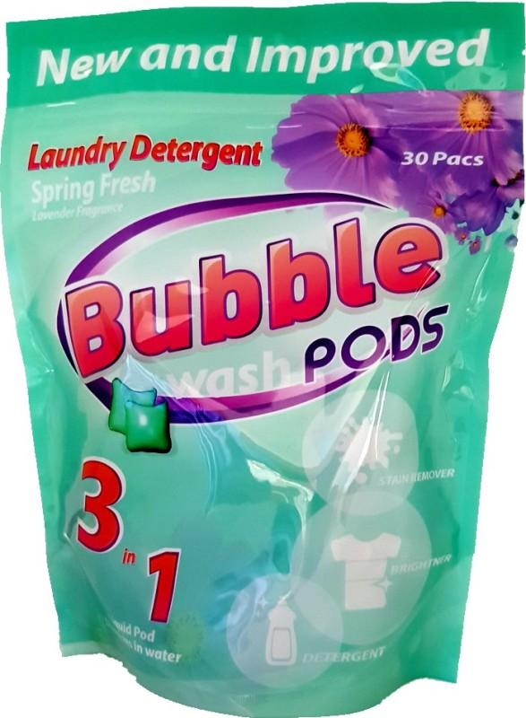 Bubble Washpods Spring Fresh Liquid Laundry Detergent HE High Efficiency 30 Loads Pouch Pack Lavender Detergent Pod(30 Pods)