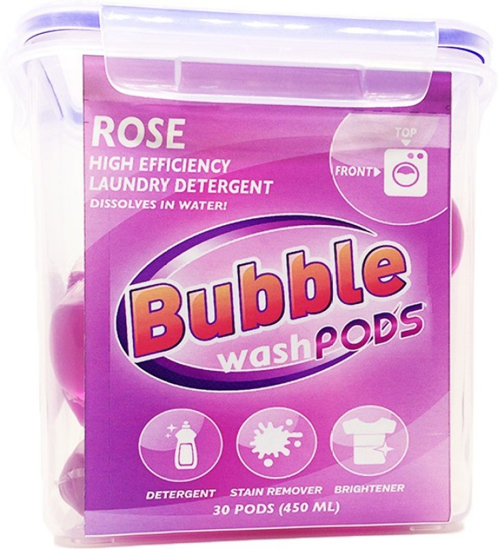 Bubble Washpods Rose Liquid Laundry Detergent HE High Efficiency 30 Loads Container Pack Rose Detergent Pod(30 Pods)
