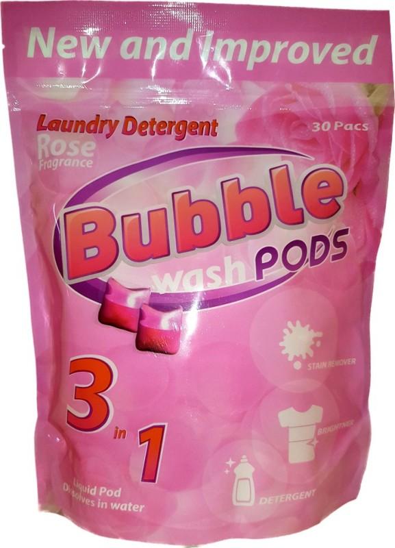 Bubble Washpods Rose Liquid Laundry Detergent HE High Efficiency 30 Loads Pouch Pack Rose Detergent Pod(30 Pods)