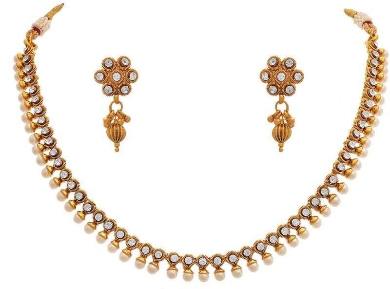 JFL-Jewellery For Less Copper Jewel Set(Gold)