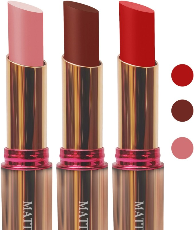 femina09 cosmetics makeup velvet matte Enriched with Vitamin E lipstick I pink d brown red fashion collection combo set of 3(l pink,d brown,red, 15 g)