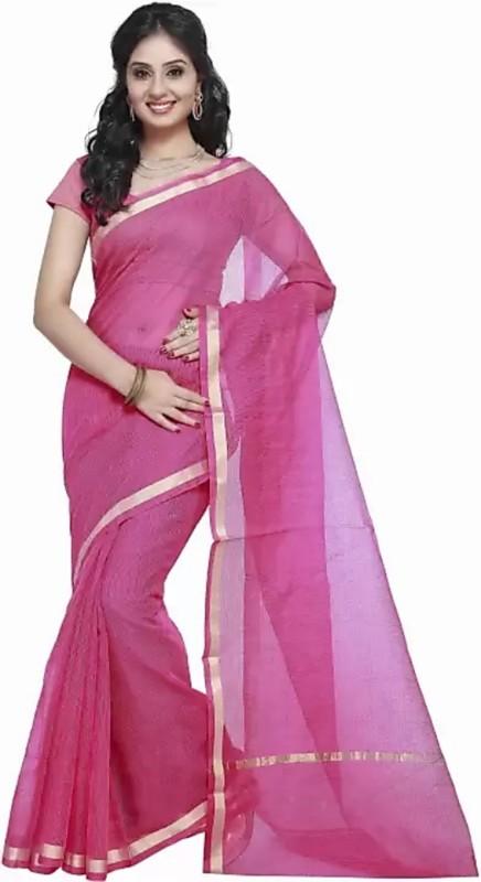 Stylish Sarees Solid, Plain Fashion Kota Cotton, Net Saree(Pink)