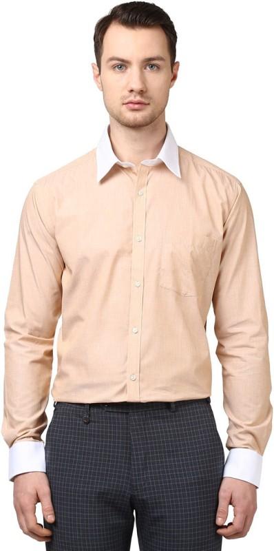 Park Avenue Mens Solid Formal Beige Shirt