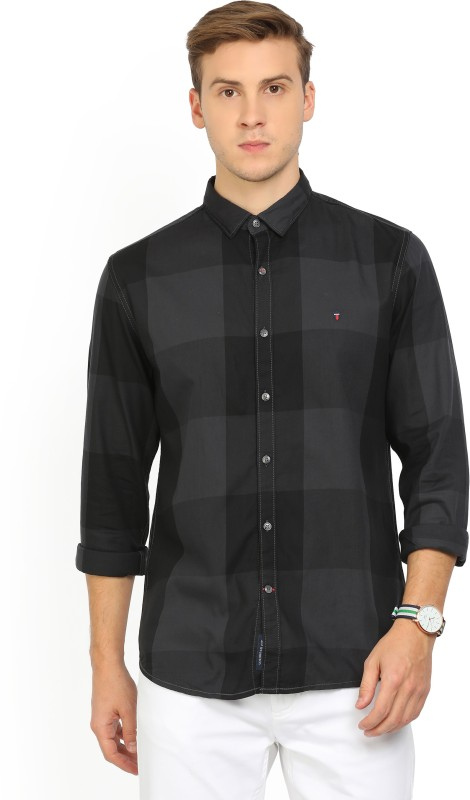LP Louis Philippe Mens Checkered Casual Grey Shirt