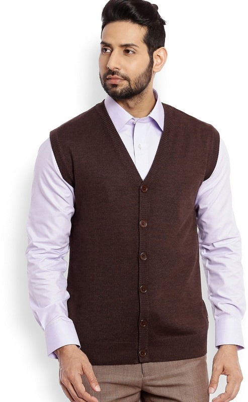 Raymond Solid V-neck Casual Mens Brown Sweater
