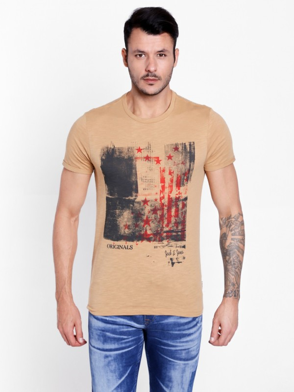 Jack & Jones Printed Mens Round Neck Brown T-Shirt