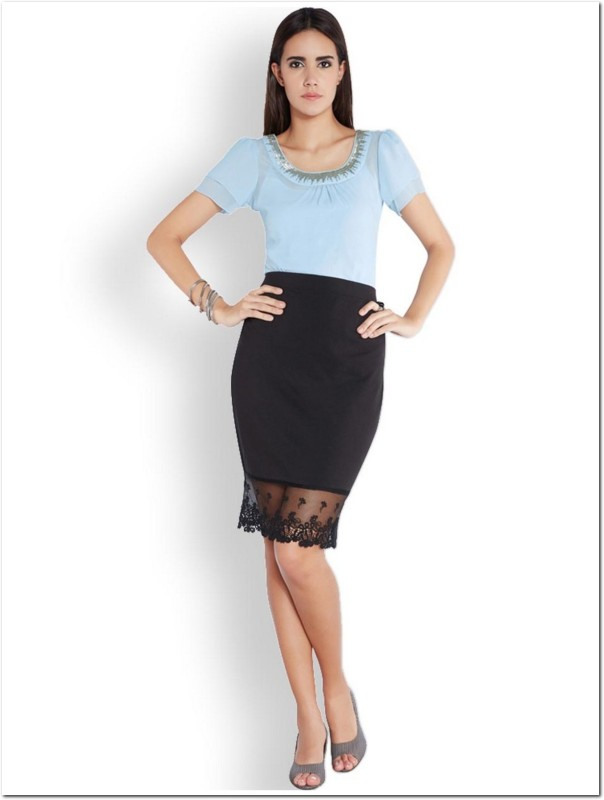Park Avenue Formal Short Sleeve Solid Women Blue Top