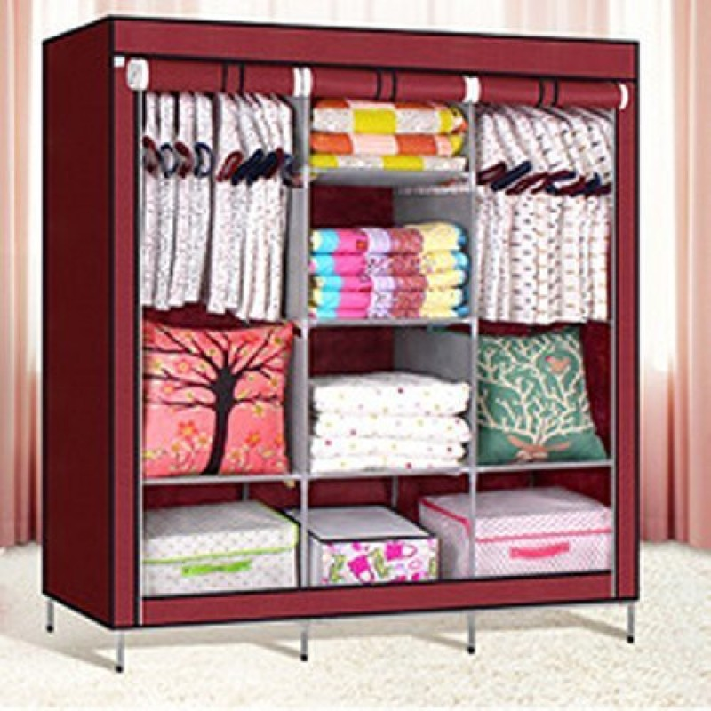 KriShyam Sa88 Microfiber Collapsible Wardrobe(Finish Color - Red)