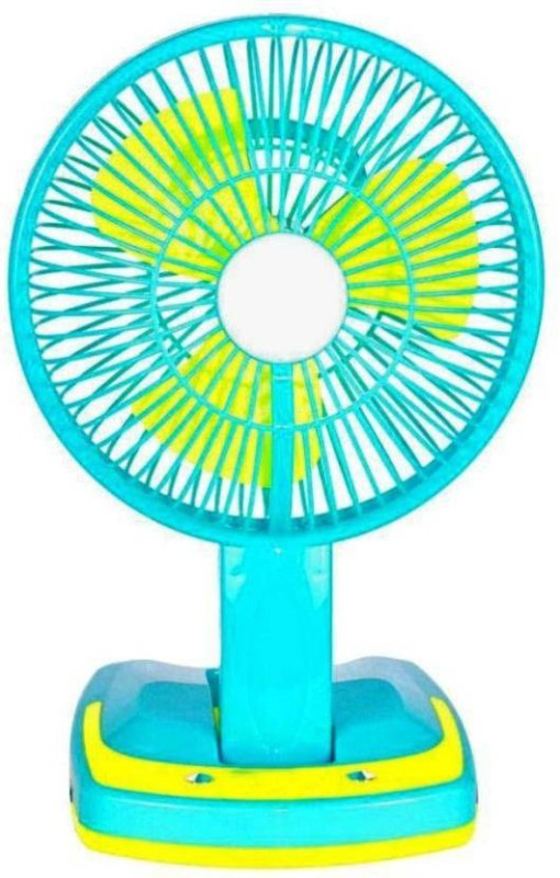 WDS JY-5590 Super Rechargeable fan with Led Light 3 Blade Table Fanu00a0u00a0(Blue) 3 Blade Table Fan(Blue)