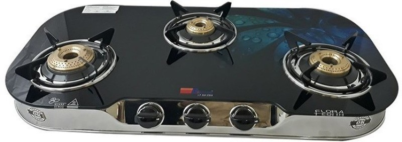 Bshine Flora Stainless Steel, Glass Manual Gas Stove(3 Burners)
