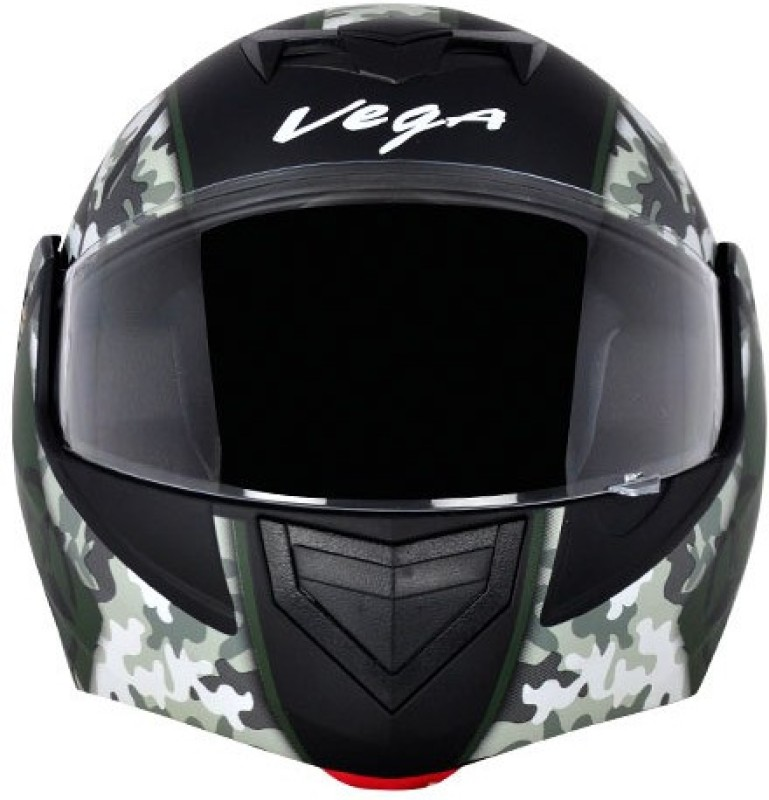 VEGA CRUX DX CAMOUFLAGE DULL BLACK BATTLE GREEN HELMET Motorbike Helmet(BLACK BATTLE GREEN)