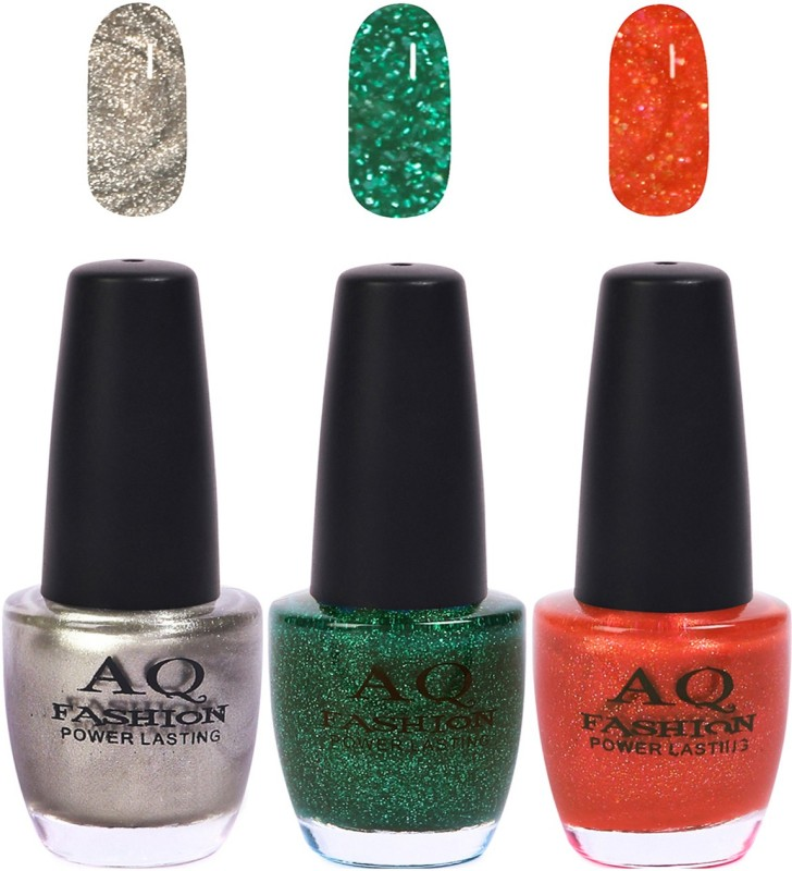 AQ Fashion Funky Vibrant Range of Colors Nail polish Silver,Grass Green,Frosty Orange(Pack of 3)