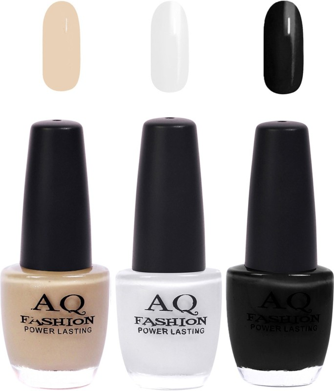 AQ Fashion Funky Vibrant Range of Colors Nail polish Musted,White,Black(Pack of 3)