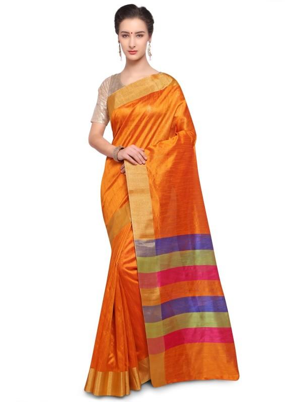 Varkala Silk Sarees Woven, Plain Banarasi Raw Silk Saree(Orange)