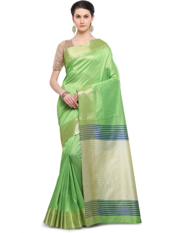 Varkala Silk Sarees Woven, Plain Banarasi Raw Silk Saree(Green)