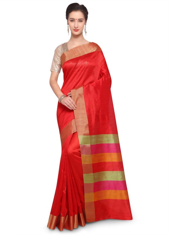 Varkala Silk Sarees Woven, Plain Banarasi Raw Silk Saree(Red)