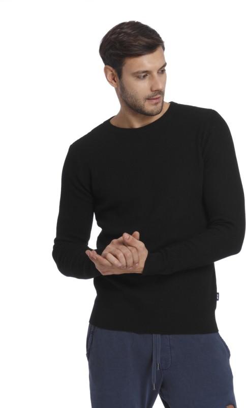 Jack & Jones Solid Crew Neck Casual Mens Black Sweater