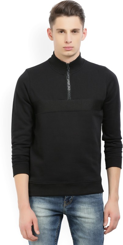 Spykar Full Sleeve Solid Mens Sweatshirt