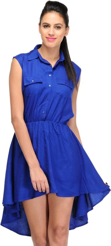 Klick2Style Women's High Low Blue Dress