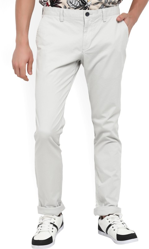 Indian Terrain Slim Fit Mens Beige Trousers