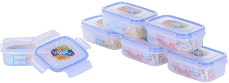 Fair Food NAOE Rectangular Lock & Seal Containers 450 ML - Set of 6 Containers/Airtight boxes. - 500 ml Plastic Grocery Container(Pack of 6, Clear)