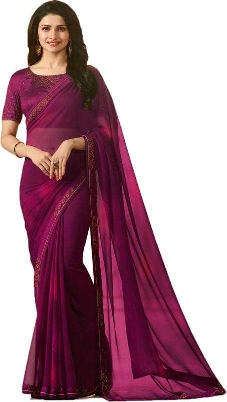 Bombey Velvat Fab Plain Coimbatore Georgette, Chiffon Saree(Purple)