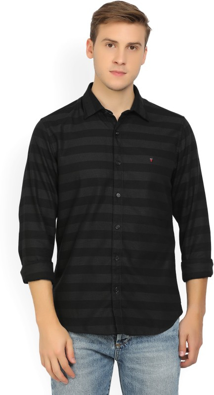 LP Louis Philippe Mens Striped Casual Black Shirt