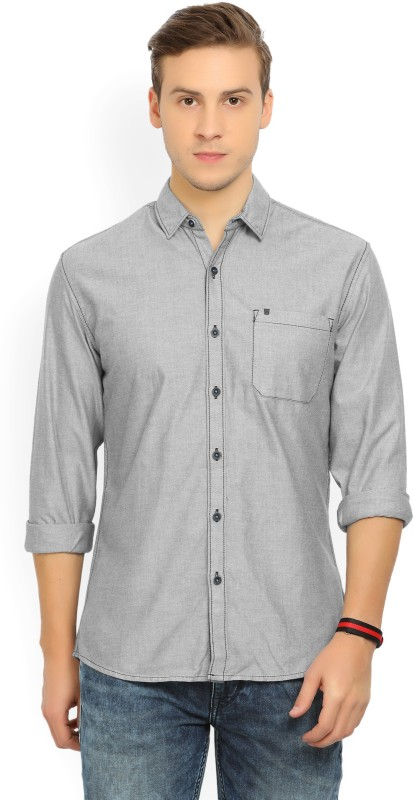 Wrangler Mens Solid Casual Grey Shirt