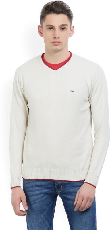 Numero Uno Solid V-neck Casual Mens Beige Sweater