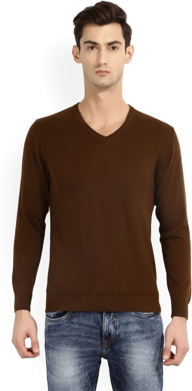 Wills Lifestyle Solid V-neck Casual Mens Brown Sweater