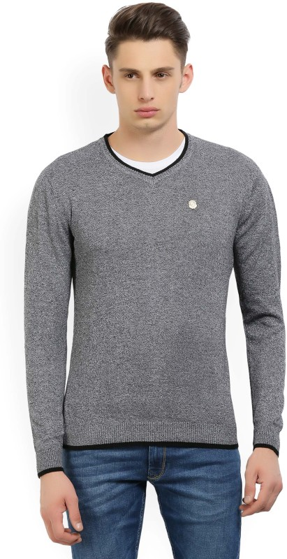 Fort Collins Solid V-neck Casual Mens Grey Sweater